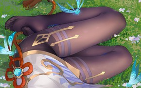 Картинка девушка, насекомые, ножки, Genshin Impact, Ganyu