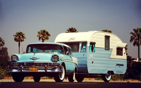Картинка Blue, Bel Air, Trailer, Station Wagon, Nomad, Camping, 1956 Year