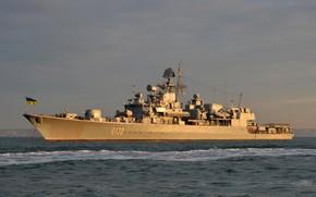 Картинка Закат, Украина, Флот, ВМСУ, Гетман Сагайдачный, F130, ВМС Украины