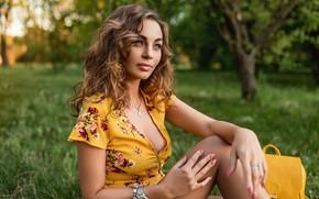 Картинка pose, Георгий Дьяков, model, yellow dress, pretty