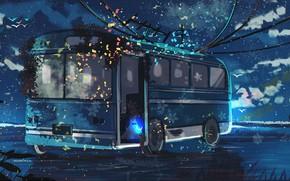 Картинка вода, ночь, природа, девочка, автобус, полумесяц