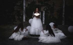 Картинка шары, девочки, книга