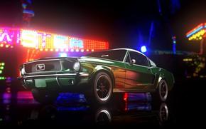Картинка Mustang, Ford, Авто, Ретро, Машина, Ford Mustang, 1967, Рендеринг, Bullit, Transport & Vehicles, by Giacomo …