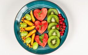 Картинка арбуз, киви, виноград, фрукты, персики, смородина