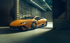 Картинка скорость, Lamborghini, вид спереди, 2018, Performante, Novitec, Huracan