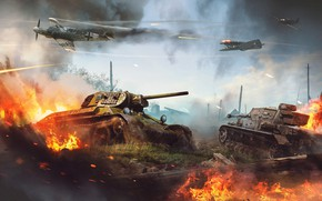 Картинка огонь, война, танк, руины, самолёты, выстрелы, War Thunder