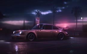 Обои Авто, 911, Porsche, Машина, Art, Porsche 911, Carrera, RSR, Вид сбоку, Synth, Game Art, Porsche ...