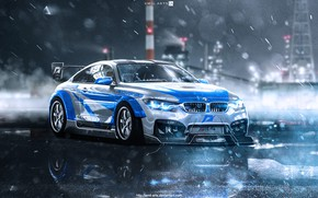 Картинка Авто, Ночь, BMW, Машина, Дождь, NFS, Need for Speed, Most Wanted, Transport & Vehicles, Emil ...