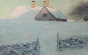 Картинка зима, пейзаж, дом, картина, Бирдж Харрисон, Снежный День, Lowell Birge Harrison