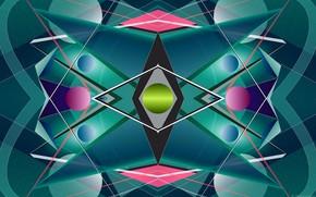 Картинка линии, круги, тени, ромбы