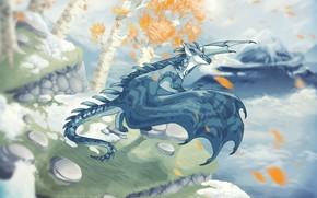 Картинка природа, дракон, летит