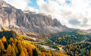 Картинка осень, деревья, пейзаж, горы, Италия