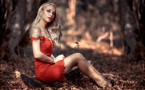Картинка girl, forest, long hair, dress, legs, photo, photographer, blue eyes, model, tattoo, bokeh, lips, face, …