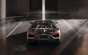 Картинка машина, свет, дым, Lamborghini, фонари, спойлер, спорткар, вид сзади, выхлоп, боксы, roadster, Aventador, SVJ