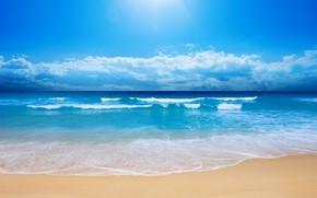 Картинка песок, море, пляж, солнце, облака