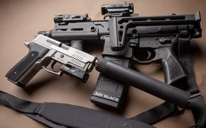 Картинка пистолет, оружие, gun, pistol, weapon, глушитель, карабин, ar-15, Elite, Sig Sauer, Sig P229, P229, carabine, ...