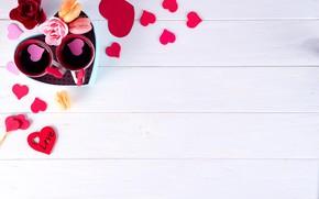 Картинка подарок, сердце, розы, сердечки, love, heart, pink, romantic, coffee cup, roses, cookies, macaron, чашка кофе, …