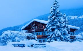 Картинка зима, небо, снег, горы, дом, синева, склоны, забор, окна, ель, огоньки, ели, Рождество, фонарь, сугробы, …