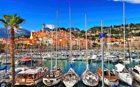Картинка море, город, Франция, яхты, лодки, порт, причалы
