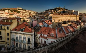 Картинка дома, крыши, панорама, Португалия, Лиссабон