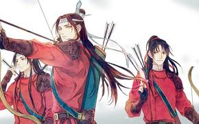 Картинка лук, лента, стрелы, длинные волосы, колчан, лучники, три парня, клан, китайская одежда, Mo Dao Zu …