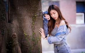 Картинка поза, дерево, азиатка