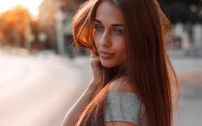 Обои взгляд, девушка, фото, волосы, макияж, красивая, Dim Khokhlov