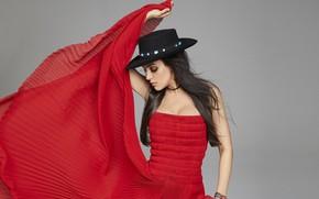 Картинка шляпа, актриса, красное платье, Mila Kunis