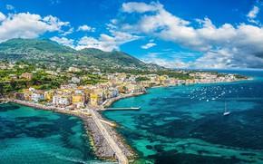 Картинка море, дома, яхты, Италия, панорама, Искья