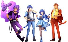 Картинка девушка, парни, Покемон, Pokemon, покемоны, хуманизация