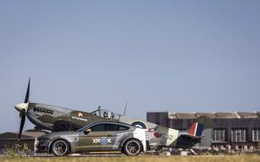 Картинка Ford, 2018, Supermarine Spitfire, RAF, ВПП, Королевские ВВС, Mustang GT, Eagle Squadron