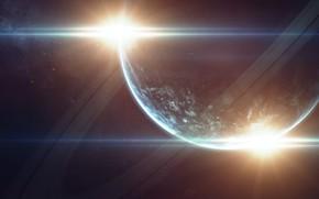 Картинка Звезды, Планета, Космос, Звезда, Кольцо, Star, Арт, Stars, Space, Блик, Art, Кольца, Planet, Rings, Ring, …