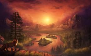 Картинка закат, горы, природа, лиса, by CreeperMan0508