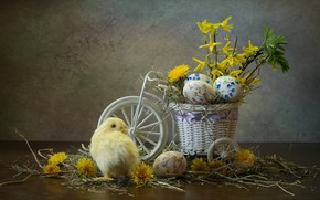 Картинка цветы, велосипед, праздник, яйца, пасха, сено, одуванчики, цыплёнок, композиция, кашпо, Ковалёва Светлана