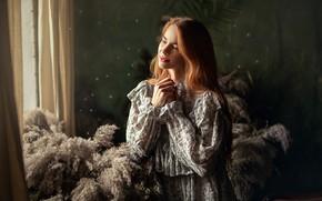 Картинка девушка, платье, окно, шатенка, шторы, Анастасия Бармина, Бармина Анастасия