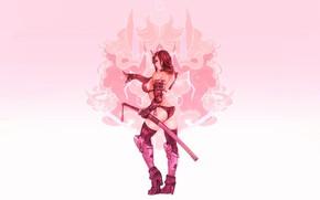 Картинка Girl, Sexy, Art, Samurai, Minimalism, Katana, Cyborg, Sword, Characters, Ren Wei Pan, Moonfox, Hannya