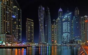 Картинка бухта, Дубай, ночной город, Dubai, небоскрёбы, ОАЭ, UAE, Дубай Марина, Dubai Marina
