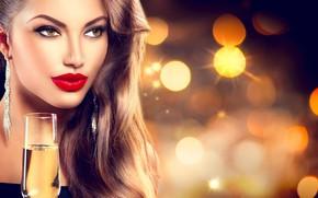 Картинка девушка, бокал, макияж, украшение, фотомодель, Анна Субботина