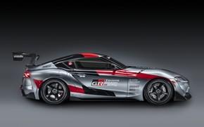 Картинка серый, фон, купе, Toyota, вид сбоку, 2020, GR Supra Track Concept
