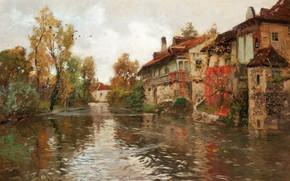 Обои норвежский живописец, 1903, Фриц Таулов, Frits Thaulow, Norwegian impressionist painter, Вдоль реки, Бьюли, Beaulieu, Along ...