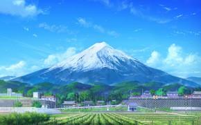 Картинка город, поля, гора