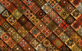 Картинка цветы, красный, узор, геометрия, коричневый, орнамент