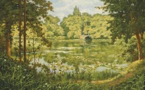 Обои Лесное озеро, A woodland lake, French painter, французский живописец, Анри Бива, Henri Biva