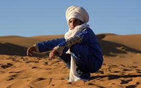 Картинка песок, пустыня, мальчик