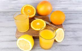 Картинка апельсин, сок, стаканы, цитрус, напиток, фреш, разделочная доска