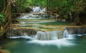 Картинка river, forest, водопад, тропический, waterfall, лес, summer, tropical, скалы, beautiful, река, пейзаж, landscape