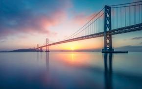 Картинка небо, солнце, облака, закат, мост, рассвет, вечер, утро, залив, США, водоем, Сан - Франциско, Бэй-бридж