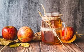 Картинка листья, стол, фон, яблоки, доски, сок, кружка, фрукты, боке