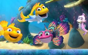 Картинка рыбки, аквариум, Splash and Bubbles