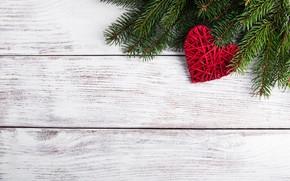 Картинка украшения, сердце, Новый Год, Рождество, love, christmas, heart, wood, merry, decoration, fir tree, ветки ели